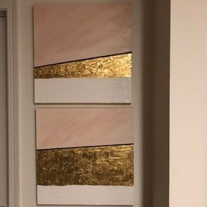 Acrylic and gold leaf painting